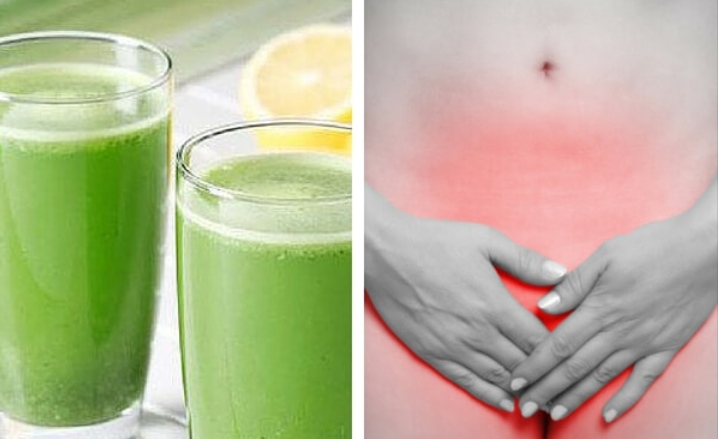 Jugo verde y vientre de mujer