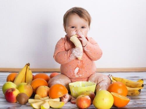 Bebé comiendo frutas